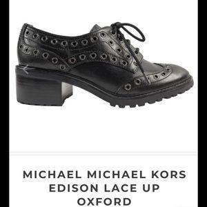 Michael Kors $195 Black Leather Grommet Oxfords
